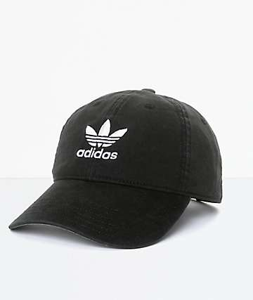 458058a02541a adidas Men s Trefoil Curved Bill Black Strapback Hat
