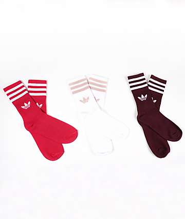 adidas Mid Cut White, Red, & Burgundy 3 Pack Crew Socks