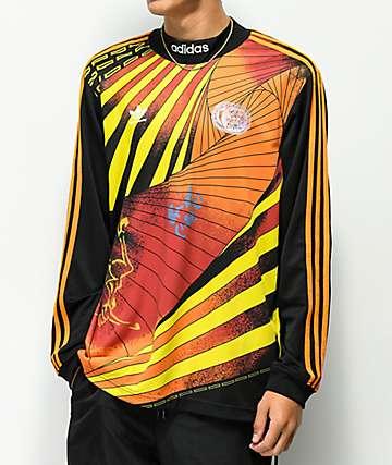 adidas Na-Kel Black & Orange Long Sleeve Jersey