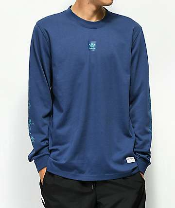 adidas Noble jersey de manga larga de malla azul marino