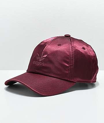 adidas Original gorra de satén borgoña para mujeres