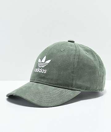 adidas Original gorra strapback para mujeres de ante verde