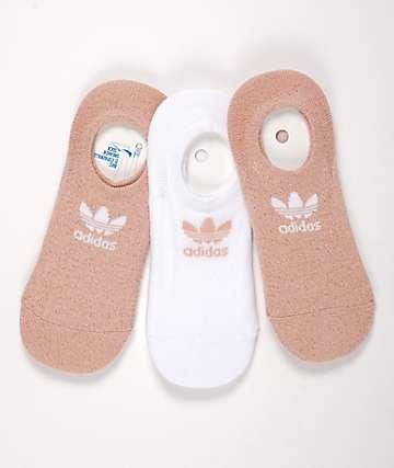 adidas Originals Lurex Pink & White 3 Pack No Show Socks
