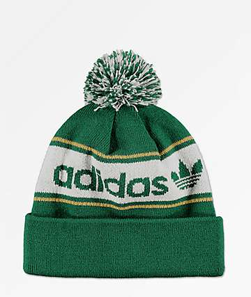 adidas Originals Noble Green & White Pom Beanie