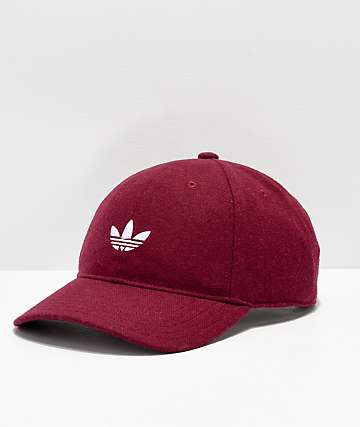 adidas Originals Relaxed Wool Burgundy   White Strapback Hat 6f1435c44ff3