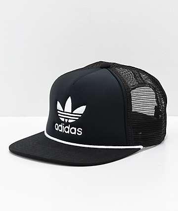 adidas Originals Trefoil gorra de camionero en negro y blanco