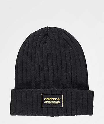 adidas Originals Wide Ribbed Black Beanie