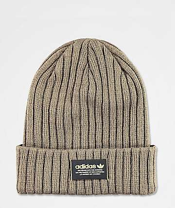 0010833b adidas Originals Wide Ribbed Olive Green Beanie