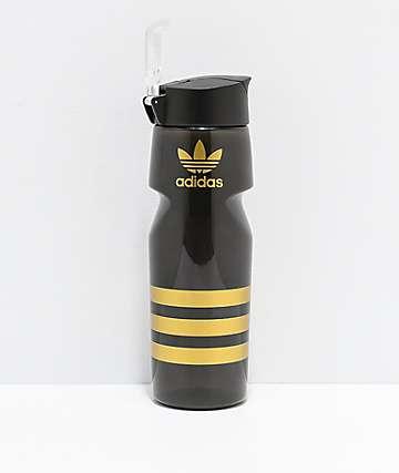 adidas Originals botella de agua negra y dorada de 25 oz
