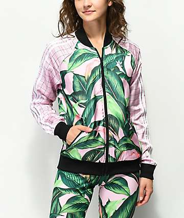 adidas Palm Leaf Pink & Green Track Jacket