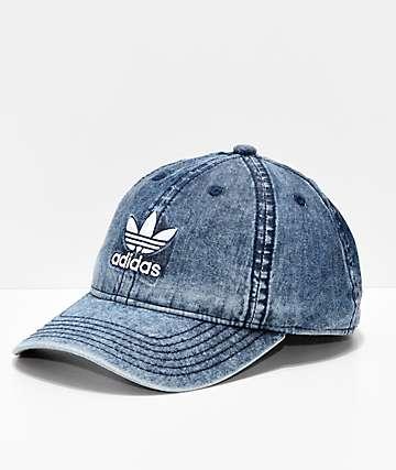 adidas Relaxed Denim & White Strapback Hat