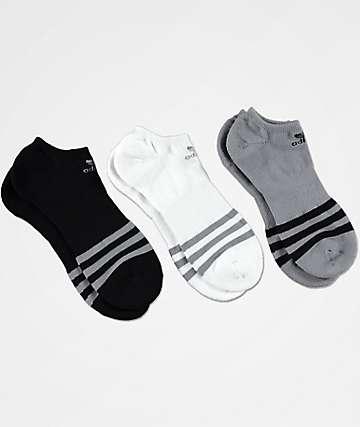 adidas Roller 3-Pack calcetines invisibles en gris, negro y blanco