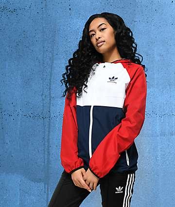 adidas Skate chaqueta cortavientos roja, azul y blanca