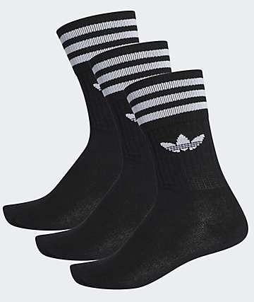 adidas Solid Black 3 Pack Crew Socks