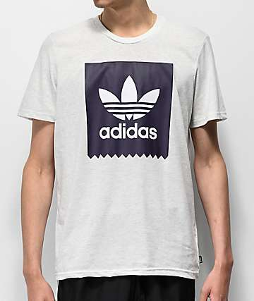 adidas Solid Blackbird Purple and Heather White T-Shirt