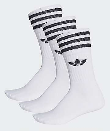 adidas Solid White 3 Pack Crew Socks