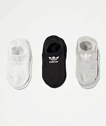 adidas Super Black & White 3 Pack No Show Socks