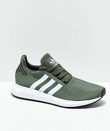 adidas Swift Dark Green, White & Black Shoes