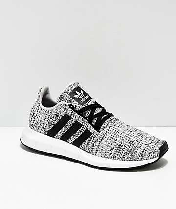 43bae19afc67f7 adidas Swift Run Heather Black   White Shoes