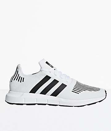 adidas Swift Run White, Black & Heather Grey Shoes