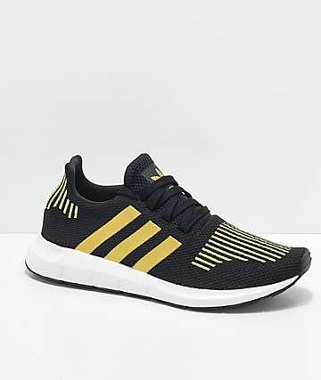 adidas Swift Run zapatos en negro y color dorado