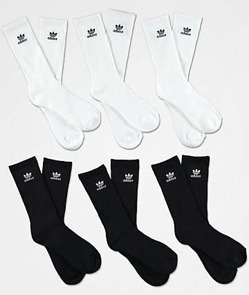 adidas Trefoil  6-Pack White & Black Crew Socks