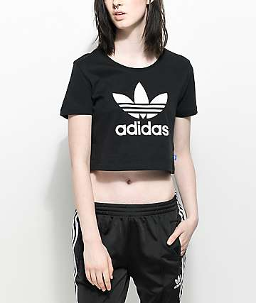 adidas Trefoil Black Crop T-Shirt