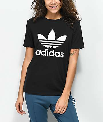 adidas Trefoil Boyfriend Fit Black T-Shirt
