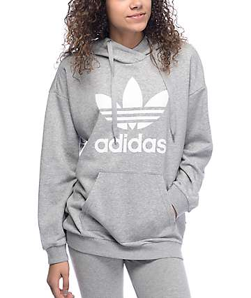 adidas Trefoil Heather Grey Womens Hoodie