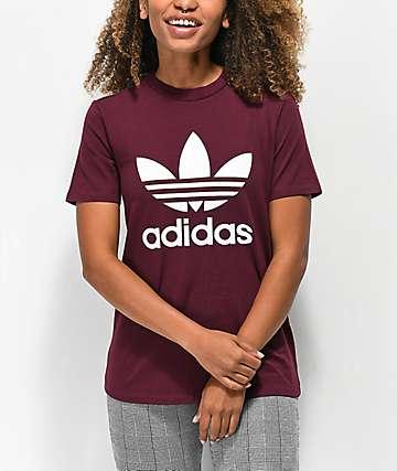 adidas Trefoil Logo camiseta borgoña