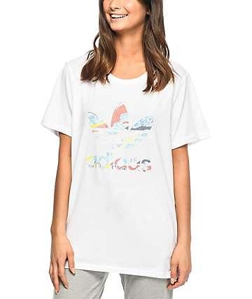 adidas Trefoil Mesh Back White Boyfriend T-Shirt