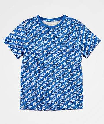 adidas Trefoil Print camiseta azul para niños
