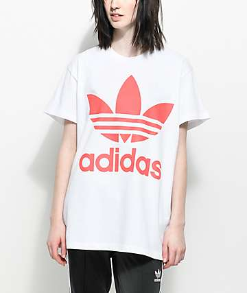 adidas Trefoil White & Hot Pink Oversized T-Shirt