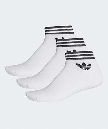 adidas Trefoil White 3 Pack Ankle Socks