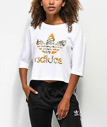 adidas Trefoil Yellow Fill White Crop T-Shirt