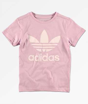 adidas Trefoil camiseta rosa para niños
