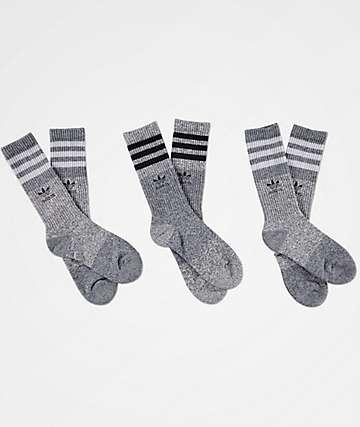adidas Triple Marl Black & Grey 3 Pack Crew Socks