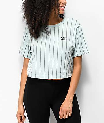 adidas Vertical Stripe Mint Green Crop T-Shirt
