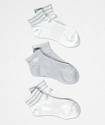 adidas White & Grey Lurex 3 Pack Ankle Socks