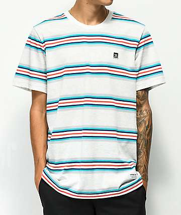 adidas Yarn Dye Grey Striped T-Shirt