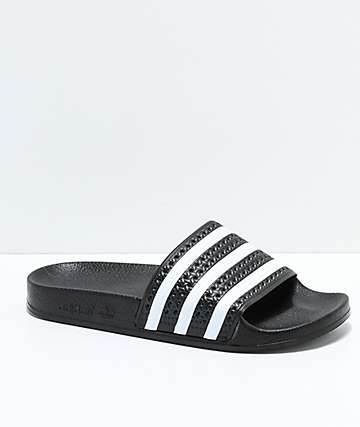 adidas Youth Adilette Black Slide Sandals