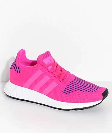 adidas Youth Swift Run Shock Pink & White Shoes