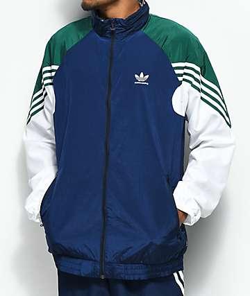 adidas chaqueta de chándal ligera en azul, verde y blanco
