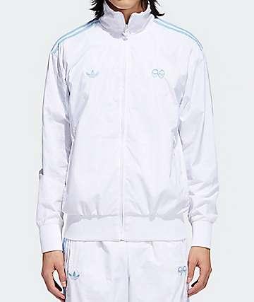 adidas x Krooked chaqueta de chándal blanca y azul claro
