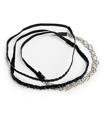diademas trenzadas negro y plata