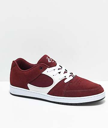 eS Accel Slim Burgundy & White Skate Shoes