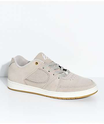 eS Accel Slim Tan & White Suede Skate Shoes