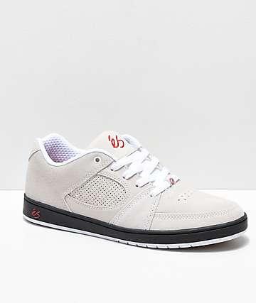 eS Accel Slim zapatos de skate de ante blanquecino, negro y rojo
