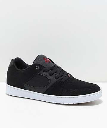 eS Accel Slim zapatos de skate de nubuck negro, rojo y blanco
