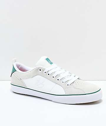 eS Aura Vulc White & Green Skate Shoes